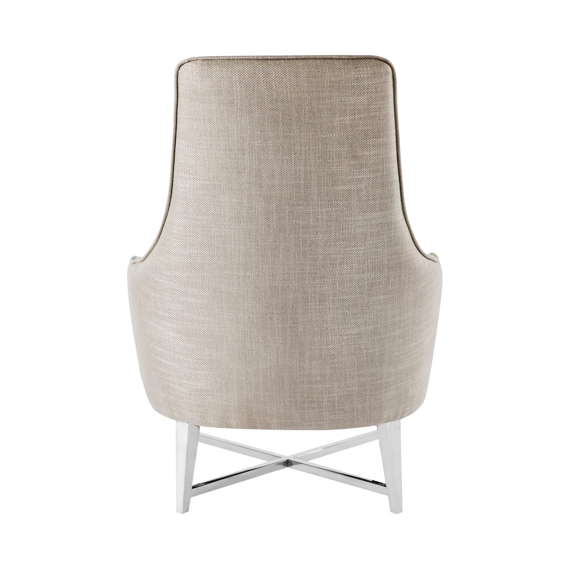 Красивая дорогая мебель, дизайнерское кресло с тканевой обивкой серого цвета, серебристая рогожка металлик, реплика (копия) флексформ, flexform, mood