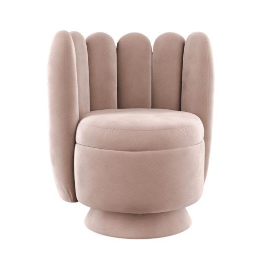 Круглое розовое кресло Гастон. Кокетливая мебель в стиле ар-деко