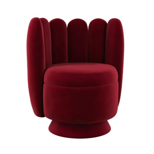 Стильное красное кресло Гастон. Ар-деко круглое дизайнерское кресло