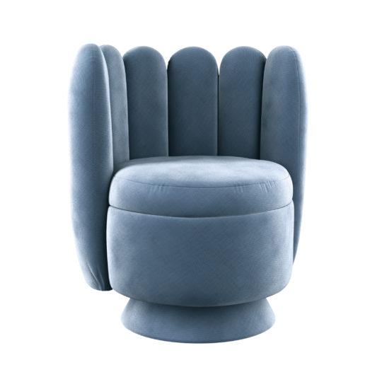Бархатное поворотное круглое кресло голубое