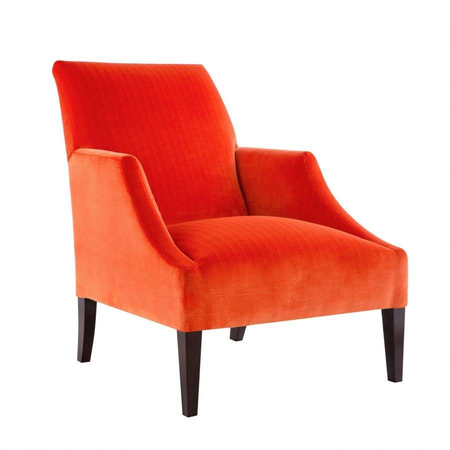 Красивая дорогая мебель, дизайнерское кресло с подлокотниками в бархатной обивке красного оранжевого цвета, американский стиль, высокая спинка, реплика (копия)