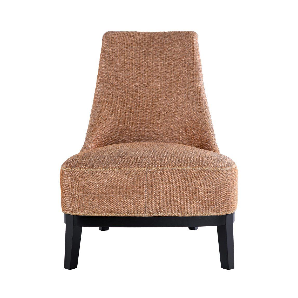 Красивая дорогая мебель, дизайнерское кресло с тканевой обивкой рыжего (оранжевого) цвета, реплика (копия) бэйкер, baker, giorgetti, джиорджетти