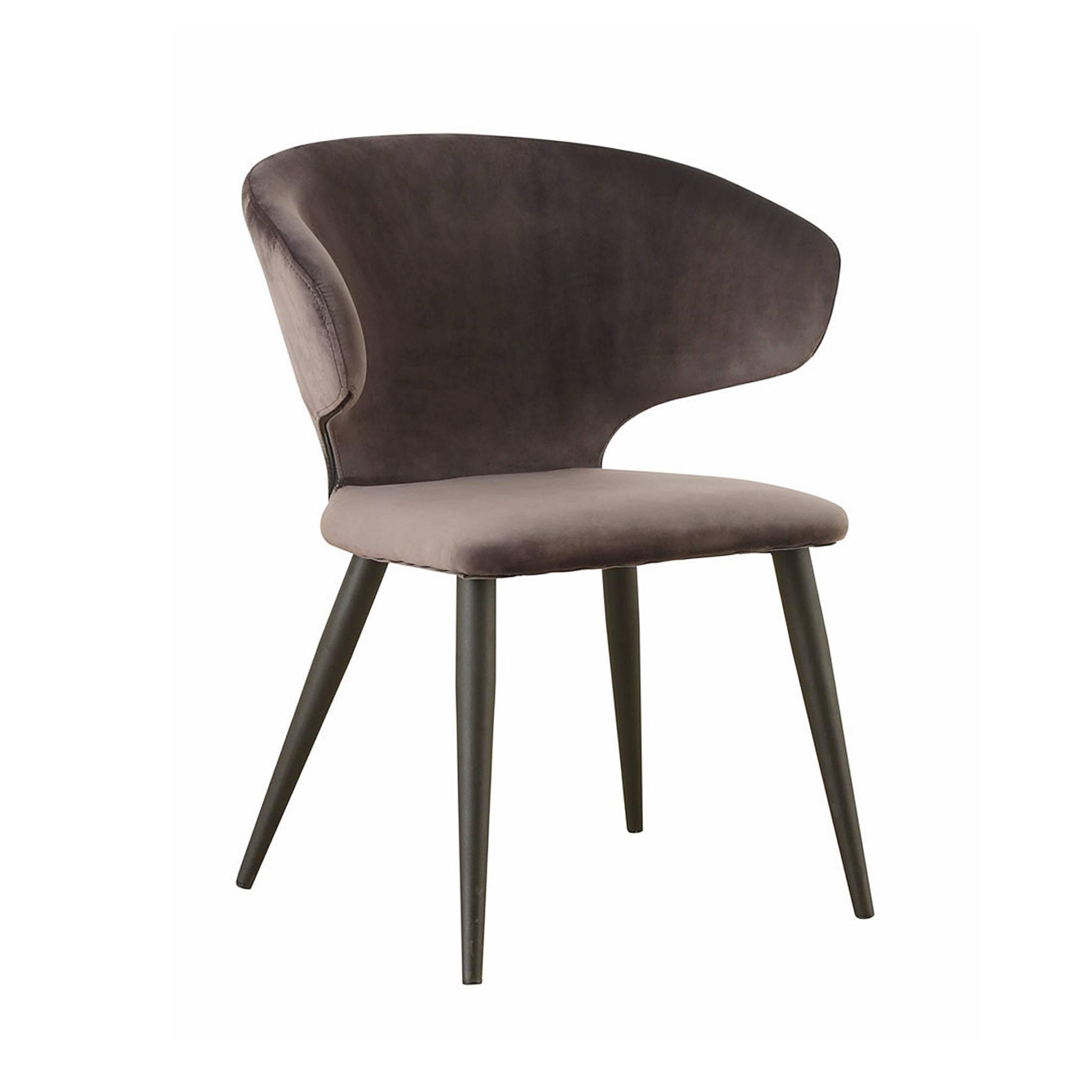 Серо-коричневый коричневый серый бархатный стул в стиле шестидесятых, стул в стиле 60-х, обеденный дизайнерский стул, купить серо-коричневый стул, бархатный стул, красивый стул российского производства, китайский стул, купить китайскую мебель