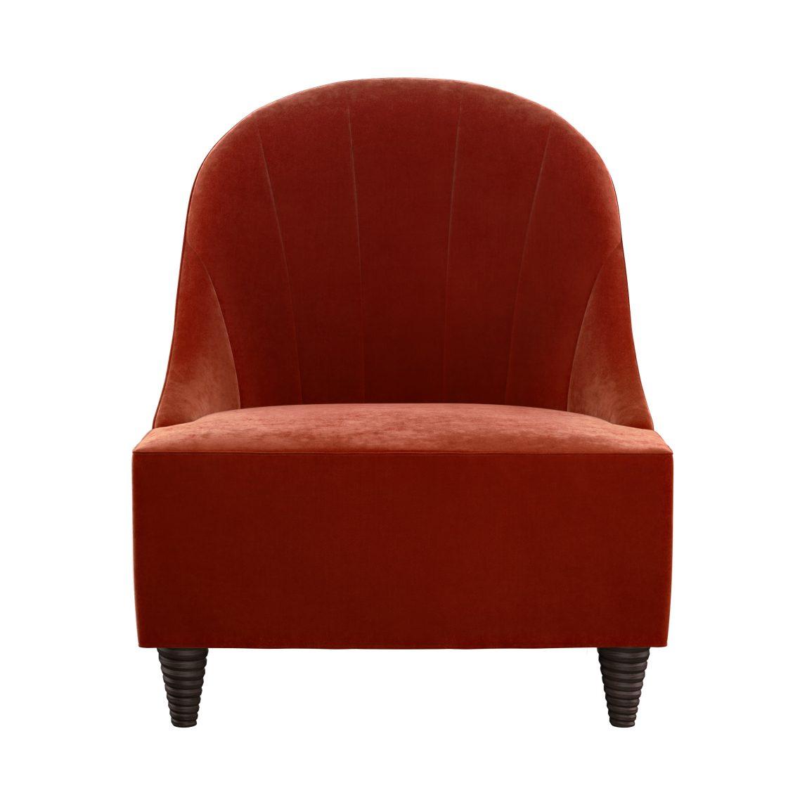 красное кресло из велюра на ножках