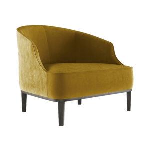 Интерьерное кресло для зала. Мягкое низкое кресло, бархат
