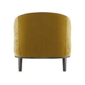 Велюровое желтое кресло для отдыха на ножках