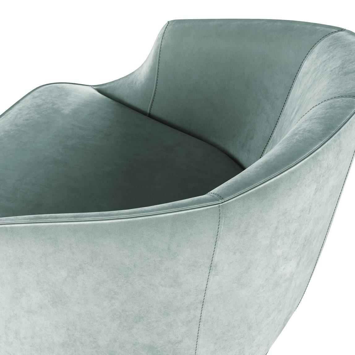 низкое бархатное зеленое кресло