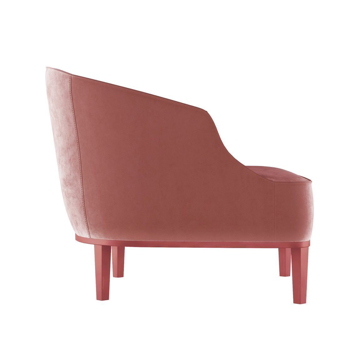 Розовое мягкое современное невысокое кресло