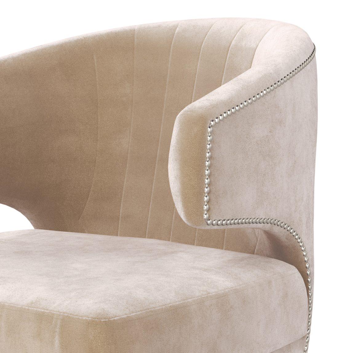 Бежевое ар-деко дизайнерское кресло Феликс. Копия реплика Irbis Brabbu Браббу