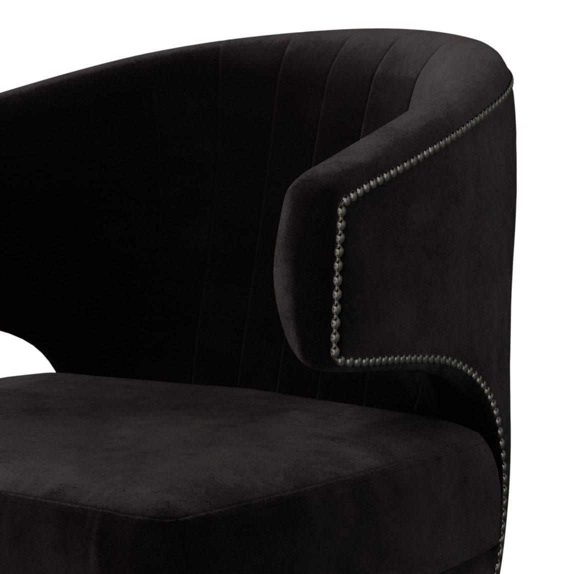 Мягкая мебель на заказ, реплика (копия) brabbu браббу, бархатное черное темное дизайнерское кресло Феликс Лавсит, для гостиной, зала, прихожей, каминной, современный португальский арт деко стиль.