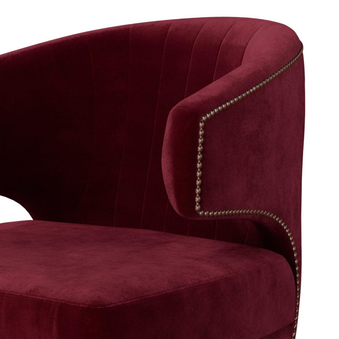 Мягкая мебель на заказ, реплика (копия) brabbu браббу, бархатное бордовое красное дизайнерское кресло Феликс Лавсит, для гостиной, зала, прихожей, каминной, современный португальский арт деко стиль.