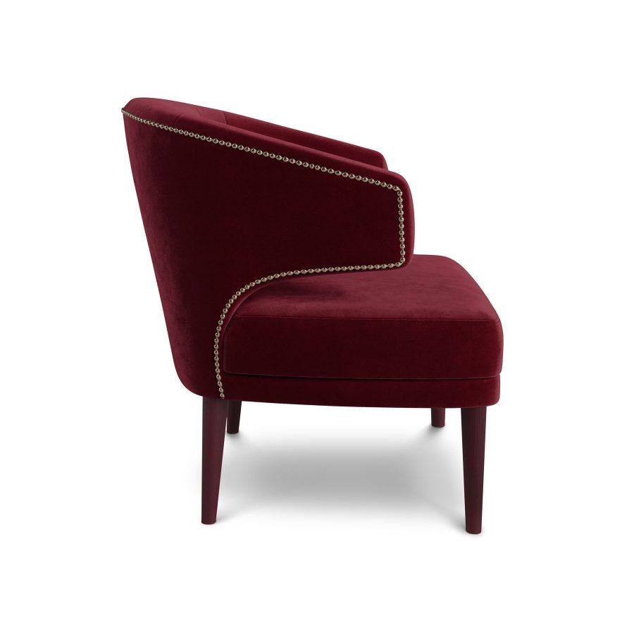 Красное ар-деко бархатное кресло Феликс. Копия реплика Irbis Brabbu Браббу