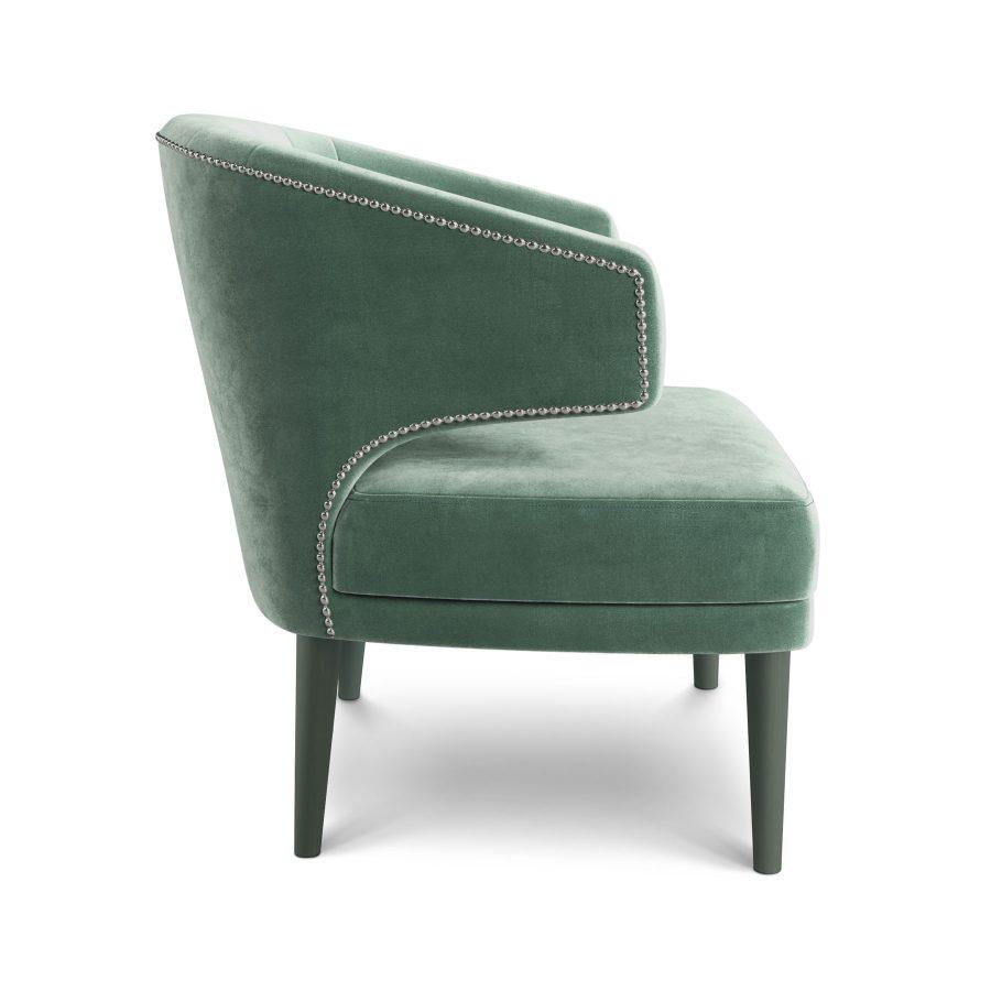 зеленое велюровое мягкое кресло