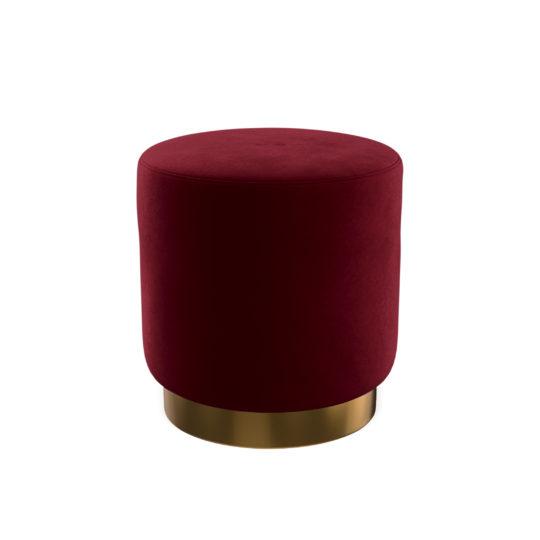 бордовый пуфик с металлическим цоколем