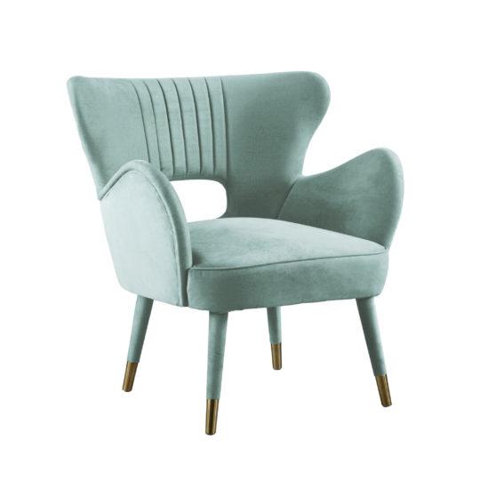 акцентное кресло с латунными ножками