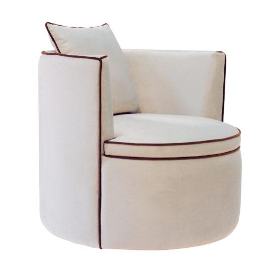 Круглое кресло Модест. Просторное кресло на поворотном цоколе. Белый велюр, Современный стиль. Итальянский frigerio фригерио мебель
