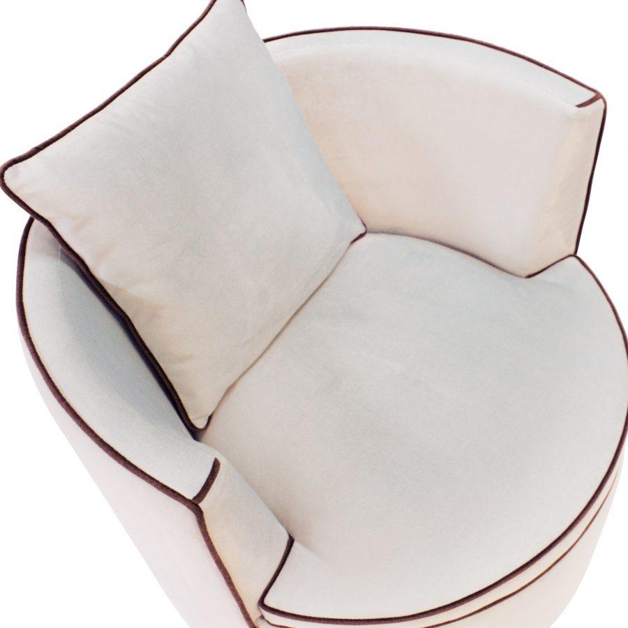Круглое кресло Модест. Просторное кресло на поворотном основании. Белый бархат. Современный стиль. Итальянский frigerio фригерио мебель