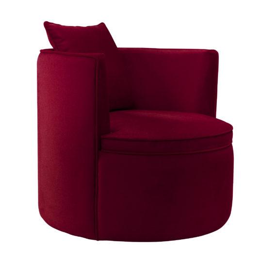 Круглое кресло Модест. Просторное кресло на поворотном цоколе. темно красный бордовый бархат. Современный стиль. Итальянский frigerio фригерио мебель