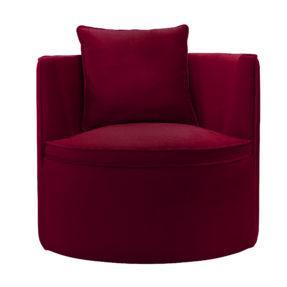 Круглое кресло Модест. Просторное кресло на поворотном основании. темно красный бордовый бархат. Современный стиль. Итальянский frigerio фригерио мебель