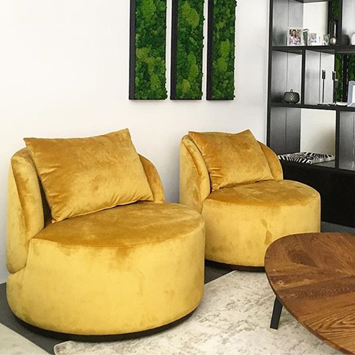 LAVSIT_Round_Lounge_armchair_solid_base_velure_yellow