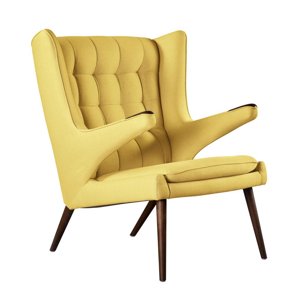 papa bear кресло в скандинавском стиле wing chair желтое