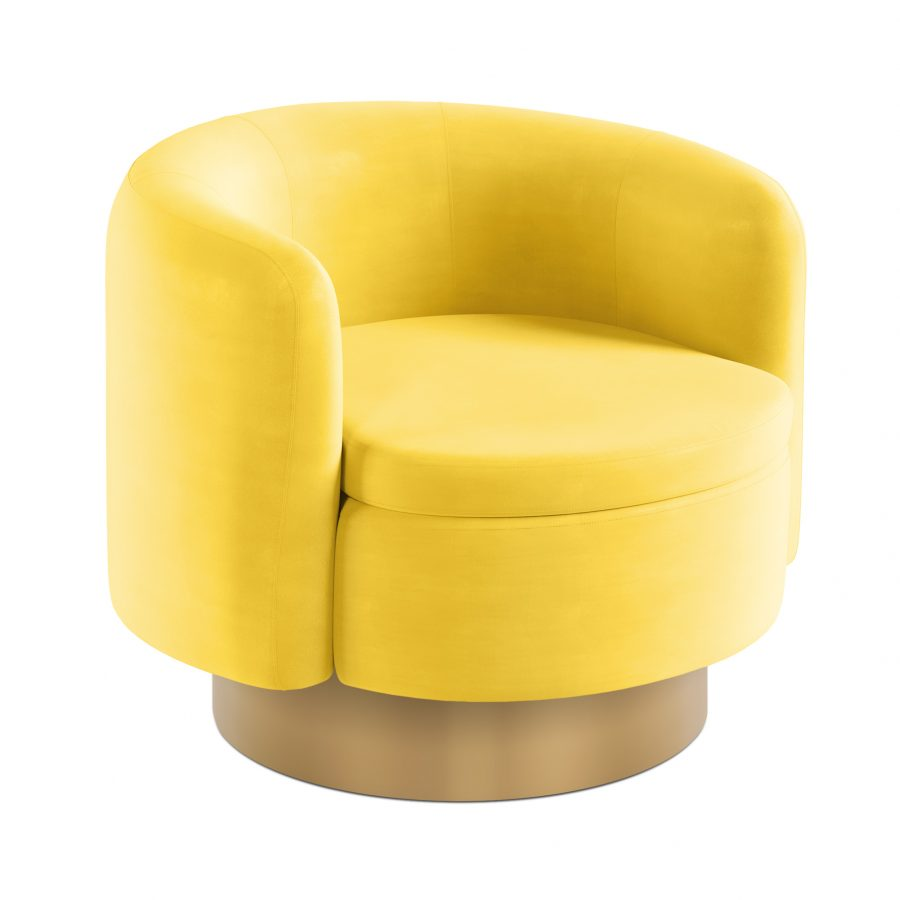 Бархатное круглое кресло на цоколе
