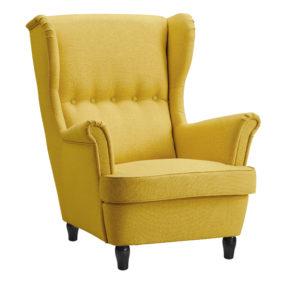 Желтое каминное кресло Страндмон Strandmon с высокой спинкой, с ушами, в скандинавском стиле, на ножках, с подлокотниками, реплика IKEA икея икеа