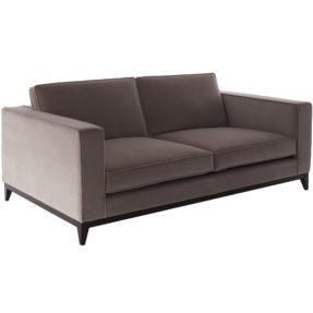 Бархатный бежевый диван на ножках
