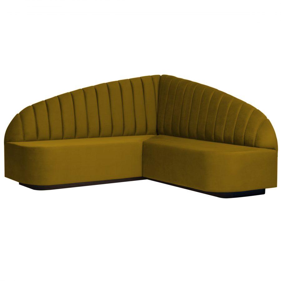 Угловой дизайнерский кухонный диван желтый современный