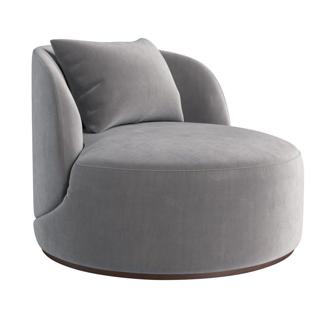 Дизайнерское круглое серое просторное кресло с подушкой