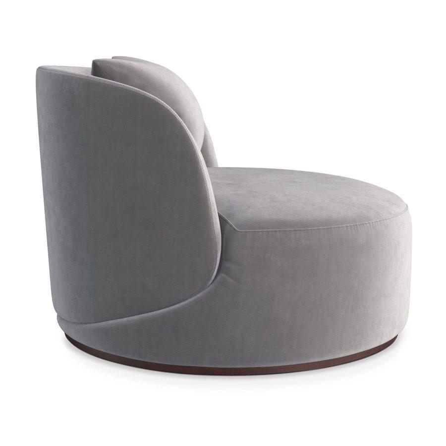Стильное круглое серое бархатное большое кресло