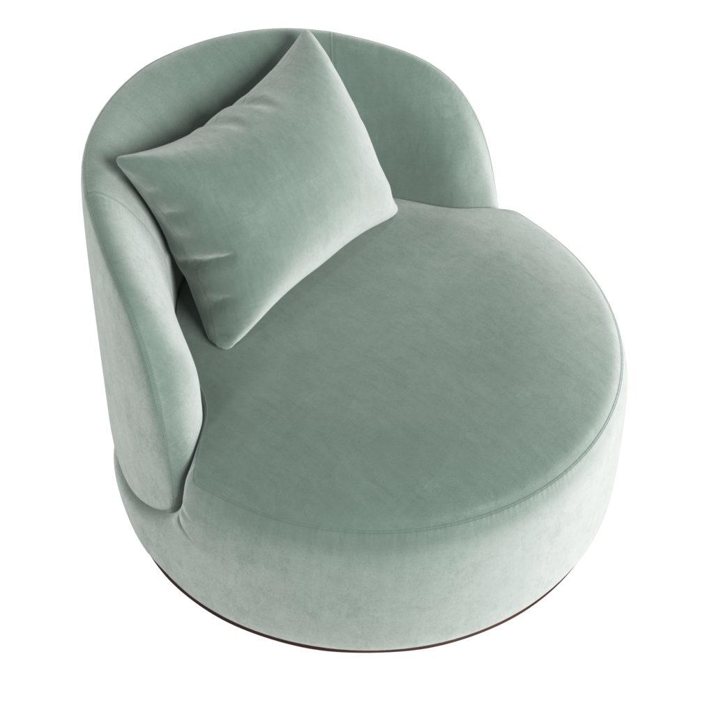 Дизайнерское круглое лаунж кресло зеленое ЛАВСИТ