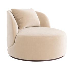 Дизайнерское круглое мягкое кресло белое бежевое ЛАВСИТ