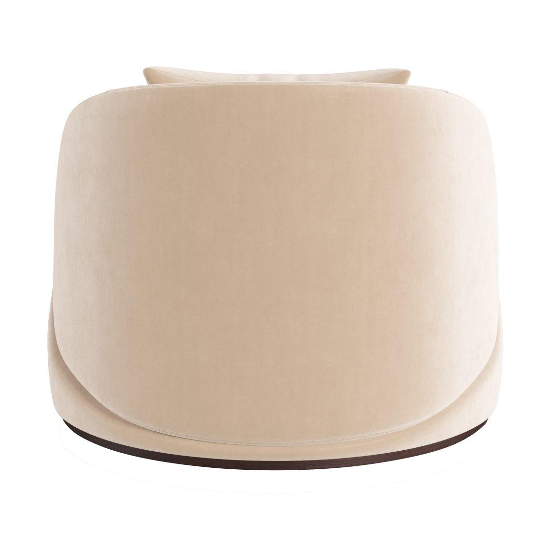 Модерн бархатное круглое большое кресло белое бежевое