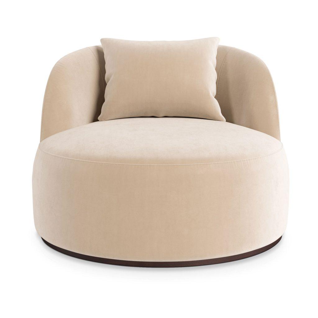 Дизайнерское круглое большое кресло белое бежевое