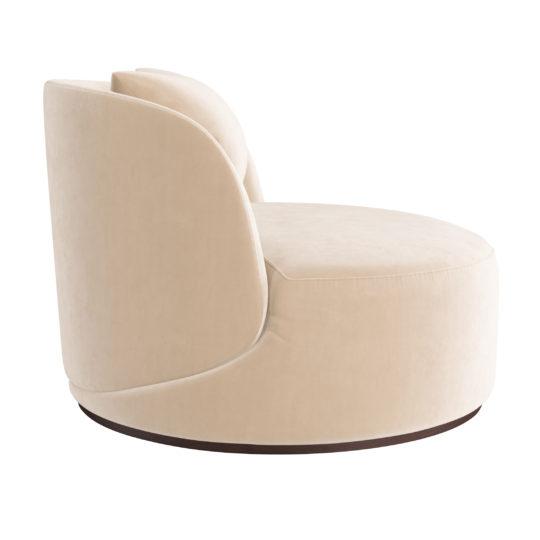 Арт-деко круглое большое лаунж кресло без ножек белое бежевое ЛАВСИТ