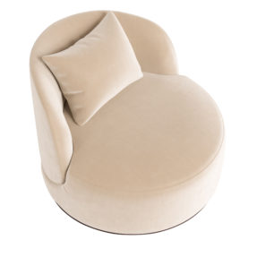 Современное круглое большое лаунж кресло без ножек белое кремовое бежевое на цоколе