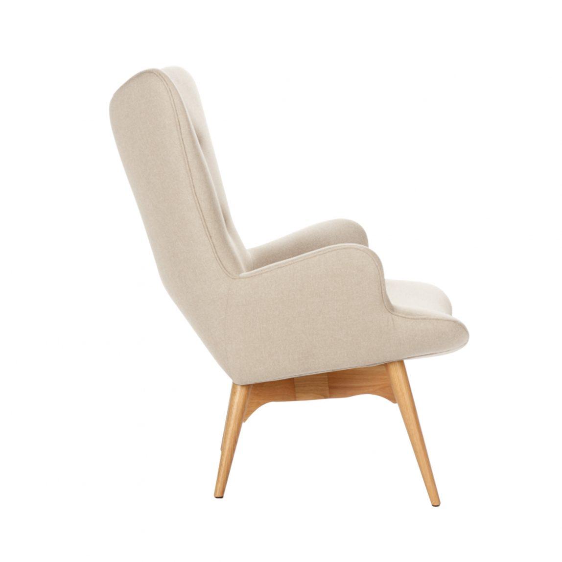 Дизайнерское кресло Contour бежевое с высокой спинкой, интерьерное скандинавское Контур в гостиную, Грант Фезерстоун