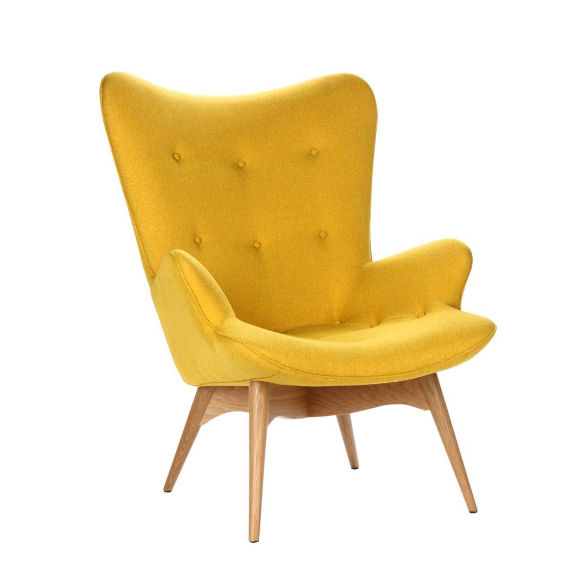 Интерьерное желтое кресло Конор