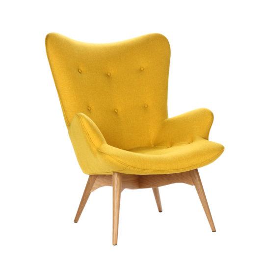 Дизайнерское кресло Contour желтое с высокой спинкой, интерьерное скандинавское Контур в гостиную, Грант Фезерстоун