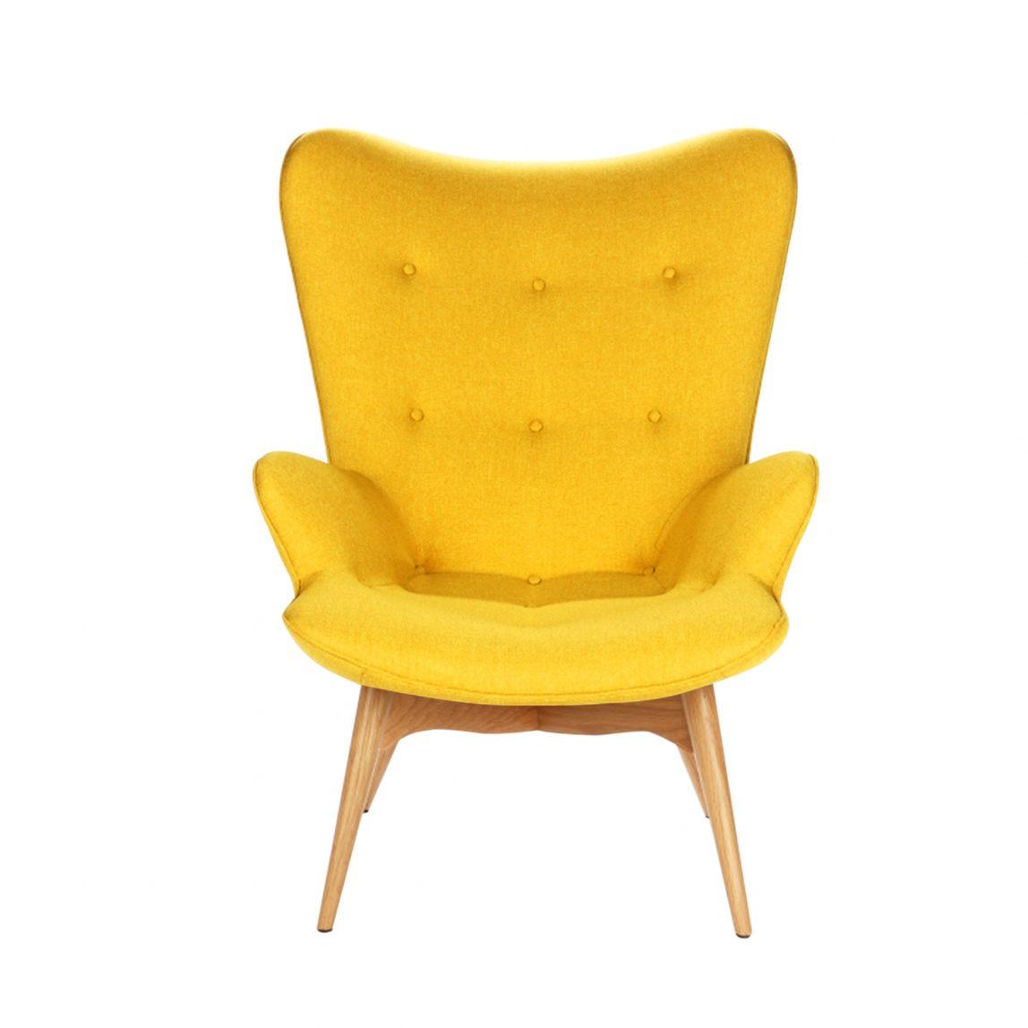 Дизайнерское кресло Contour желтое для отдыха, интерьерное скандинавское Контур в гостиную, Грант Фезерстоун