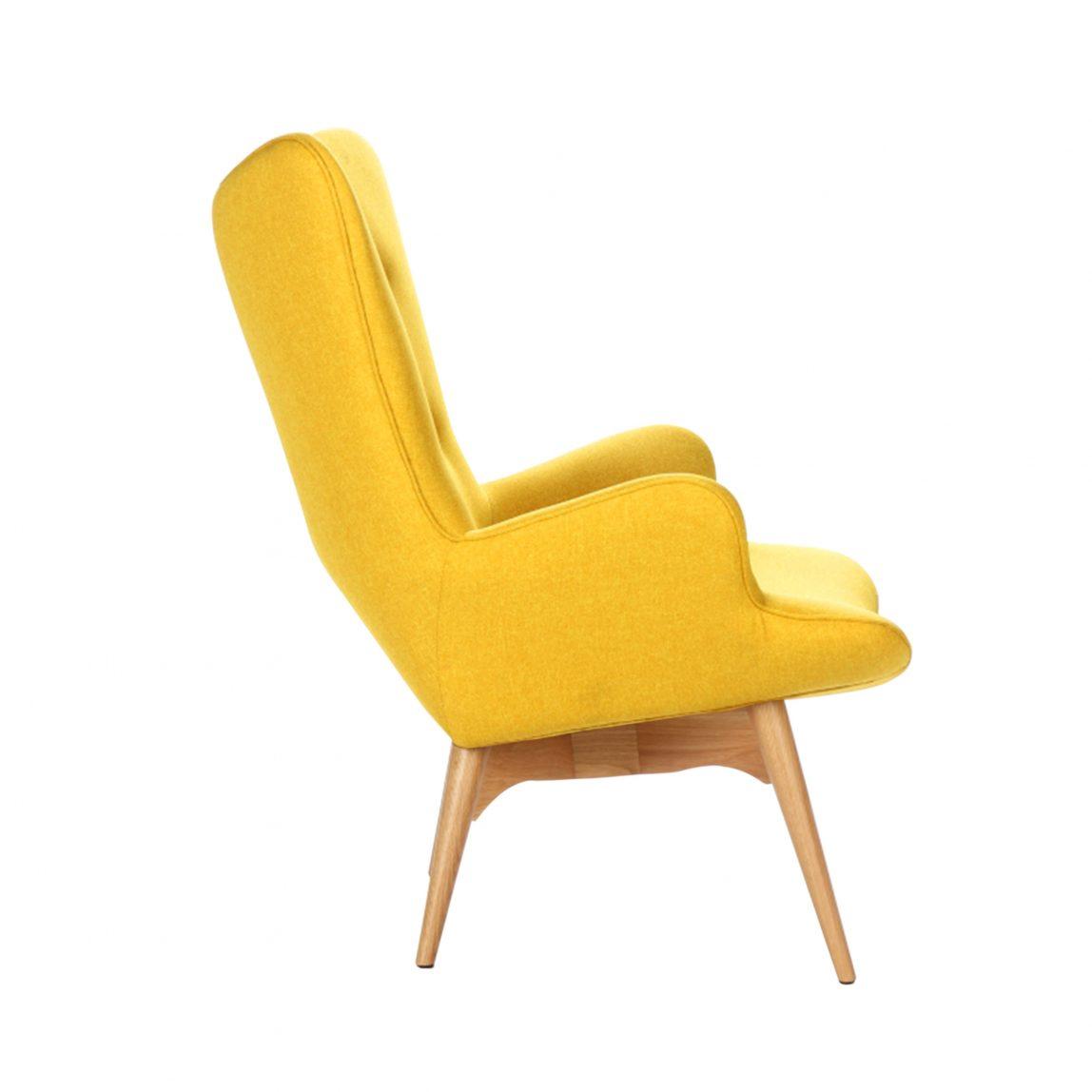 Дизайнерское кресло Contour желтое с подлокотниками, интерьерное скандинавское Контур в гостиную, Грант Фезерстоун