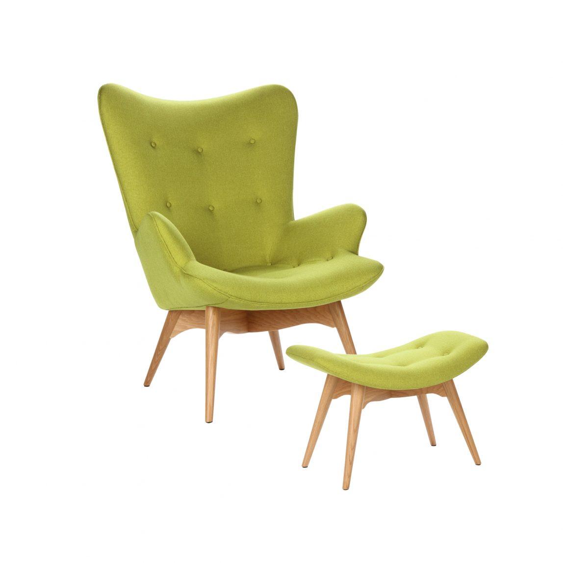 Дизайнерское кресло Contour зеленое с банкеткой, интерьерное скандинавское Контур в гостиную, Грант Фезерстоун