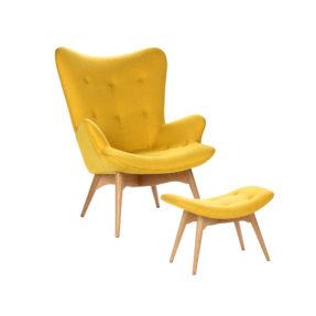 Дизайнерское кресло Contour желтое с банкеткой для ног, интерьерное скандинавское Контур в гостиную, Грант Фезерстоун