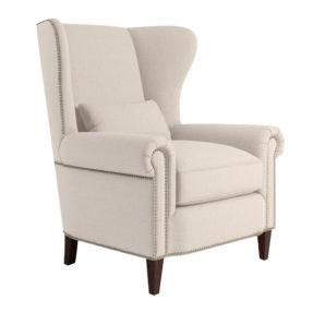 Каминное вольтеровское кресло с высокой спинкой с ушами бежевое Gramercy Malonne Грамерси английский стиль