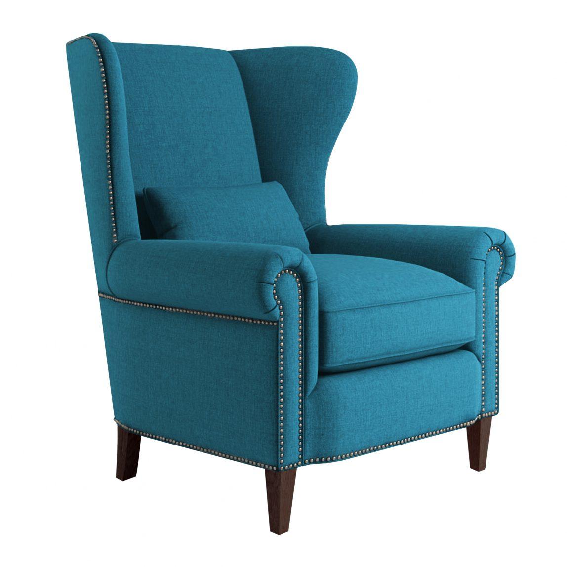 Синее кресло с высокой спинкой Роберт