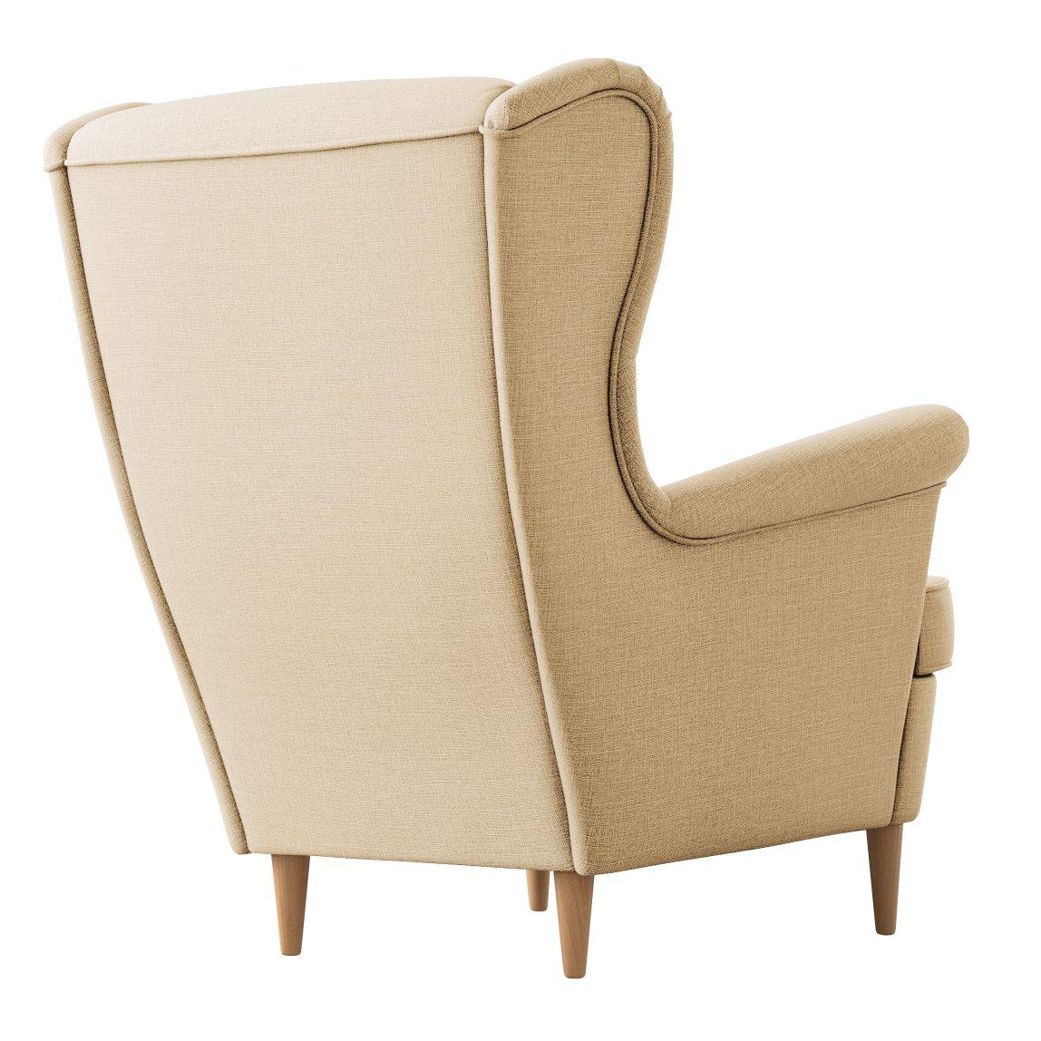 Бежевое кресло Страндмон ikea икея на ножках