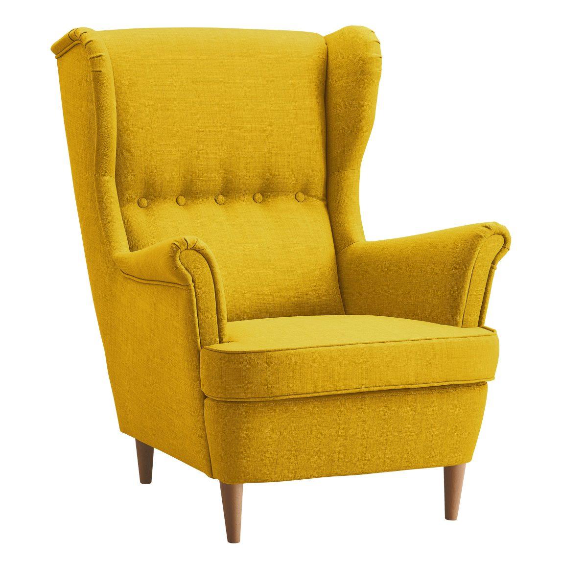 Желтое кресло с высокой спинкой Торн