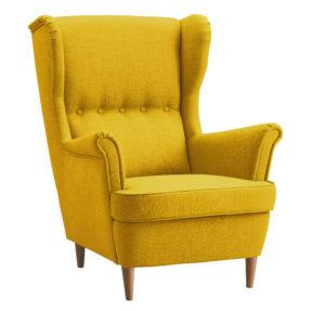 Желтое кресло с высокой спинкой Страндмон ikea икея