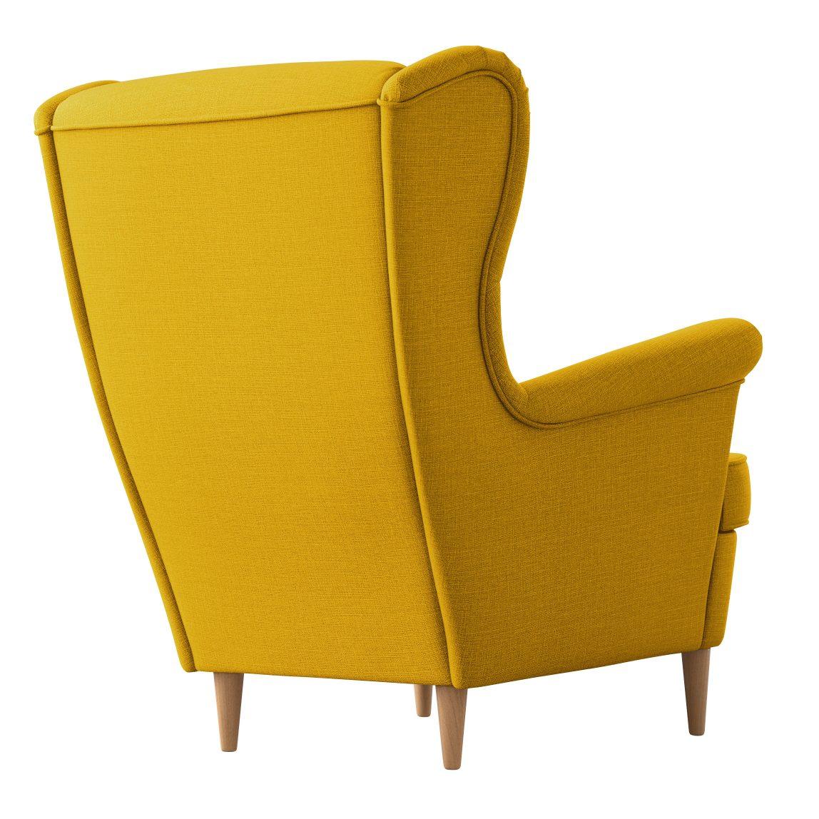 Желтое кресло с высокой спинкой Strandmon икея ikea